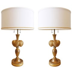 Pair of Gilt Plume Lamps by Frederick Cooper