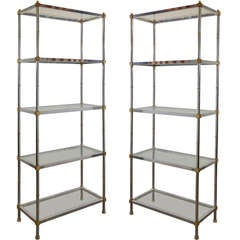 Pair Chrome and Brass Shelves