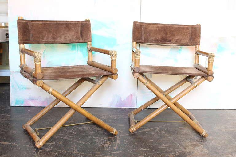 Pair Of Mcguire Oak Safari Directors Chairs At 1stdibs