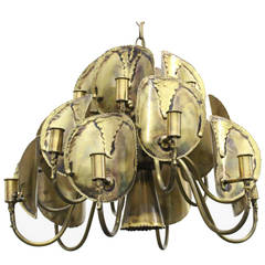 Brutalist Torch Cut Chandelier by Tom Greene for Feldman