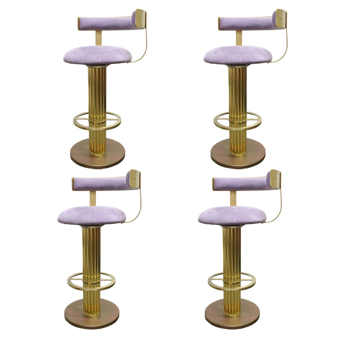 Set Of Four Brass Bar Stools By Design For Leisure At 1stdibs