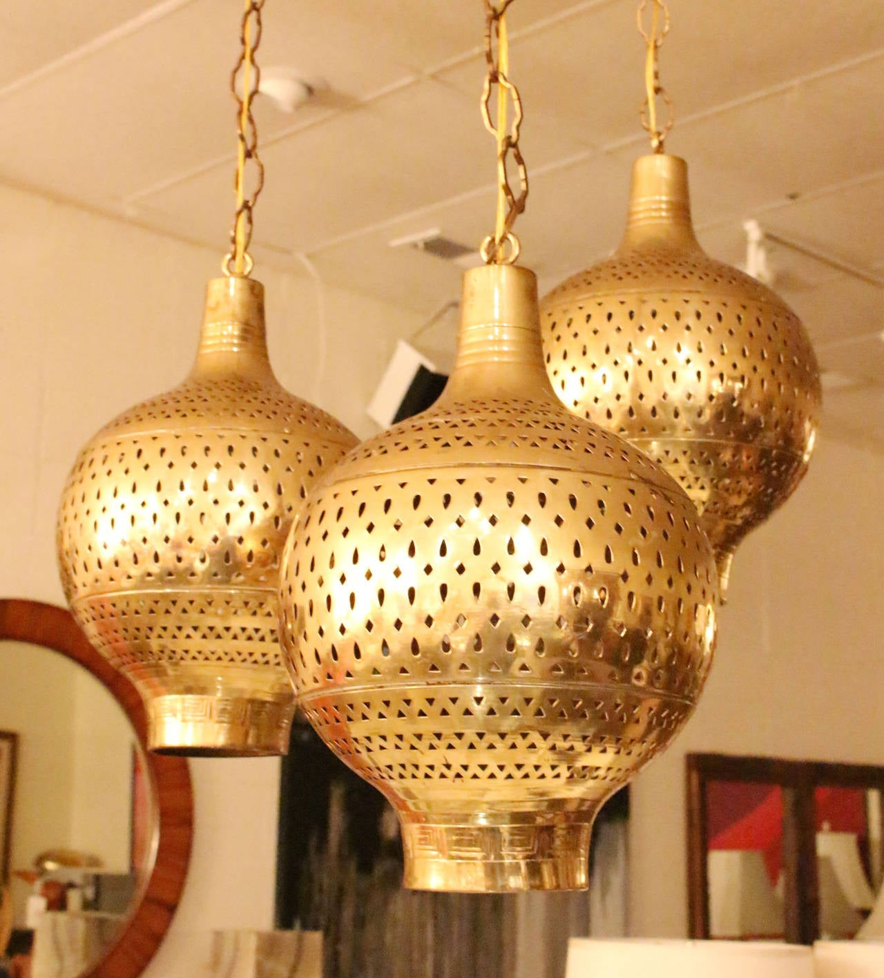 Three Brass Moroccan Pendant Chandelier At 1stdibs
