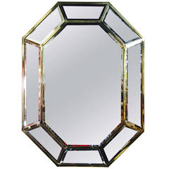 Brass Octagonal Mirror by La Barge