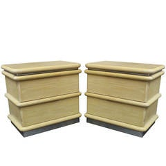 Pair of Blonde Oak Nightstands by Jay Spectre