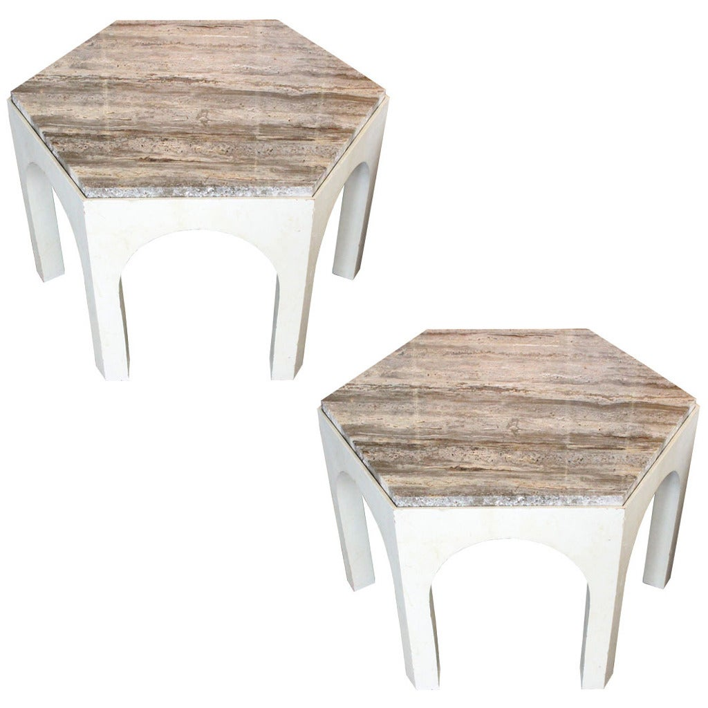 Pair of 1960s Travertine Top Side Tables in the Style of Harvey Probber