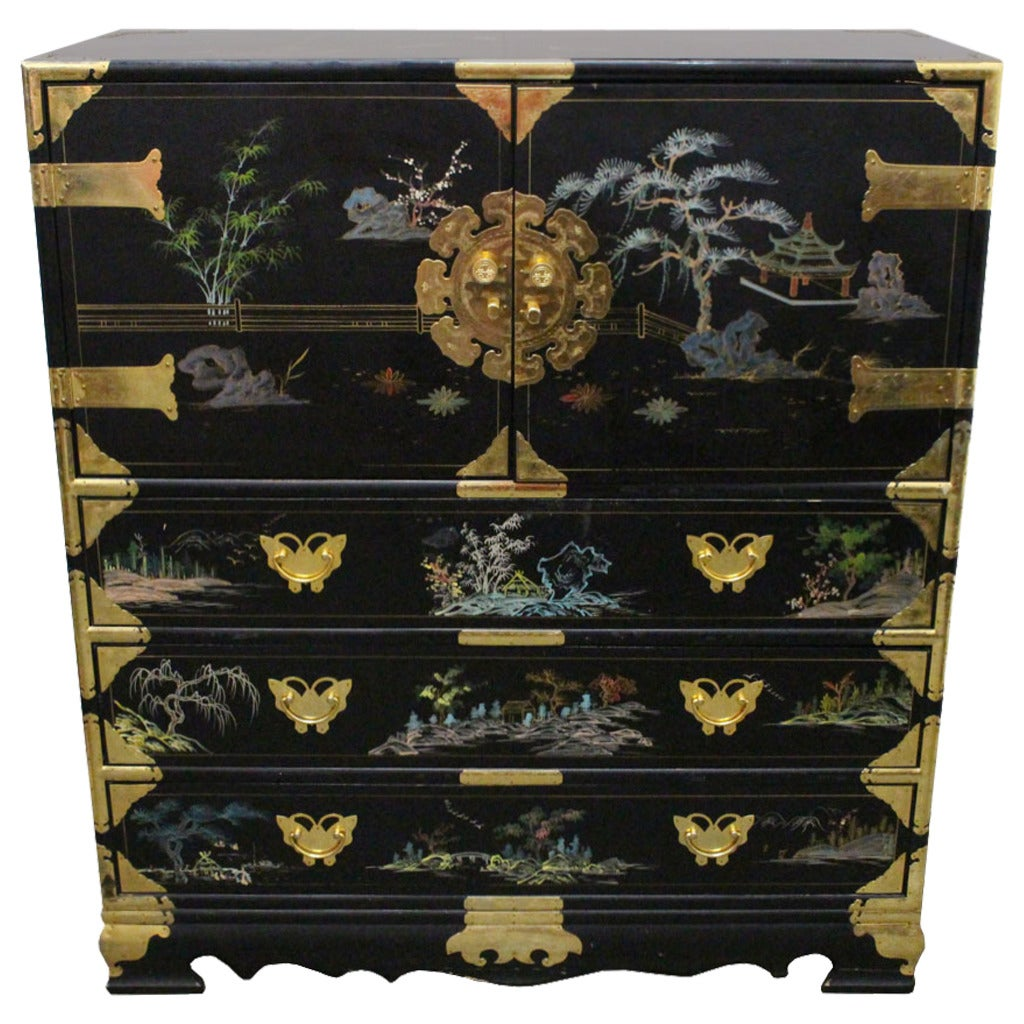 Hand painted asian chest at 1stdibs for Hand painted chests