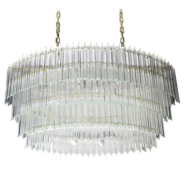 Large Scale Oval Venini Chandelier At 1stdibs