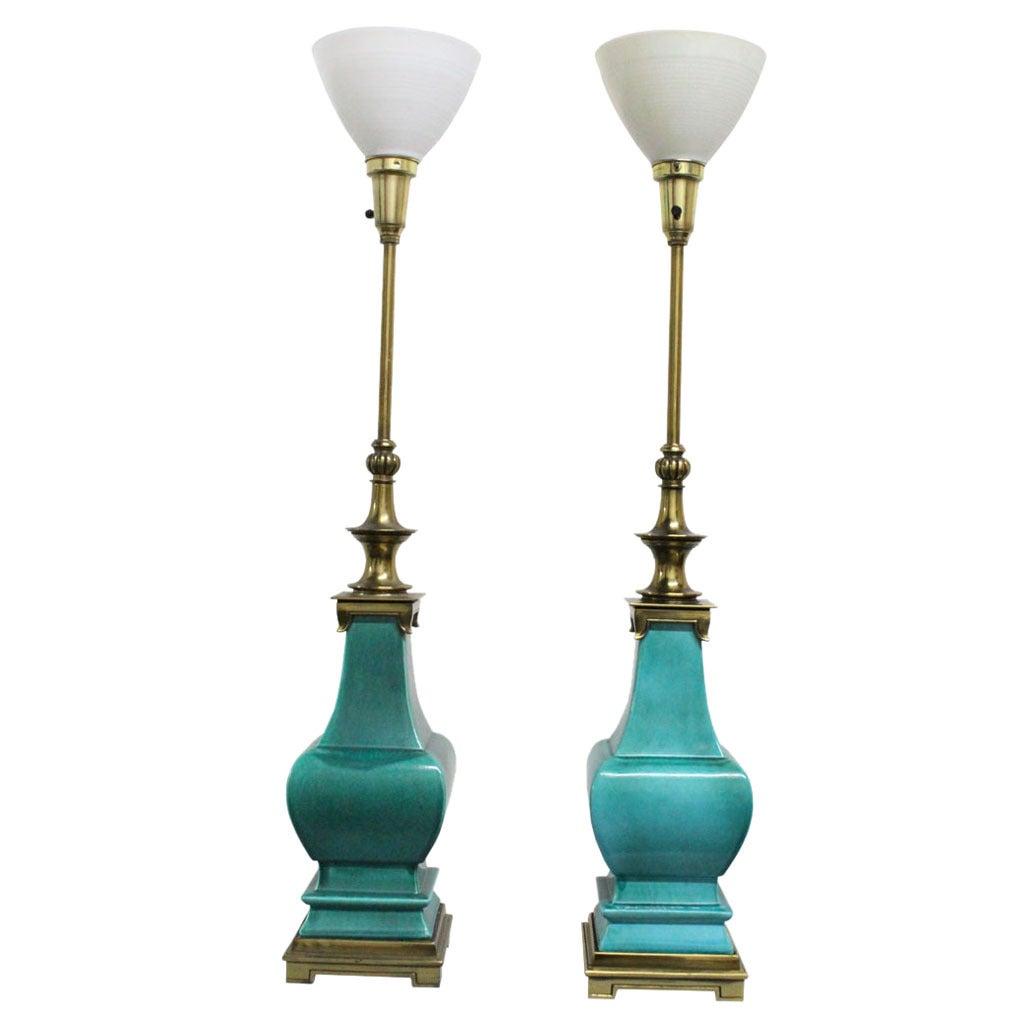 Pair of Stiffel Porcelain Glazed Lamps