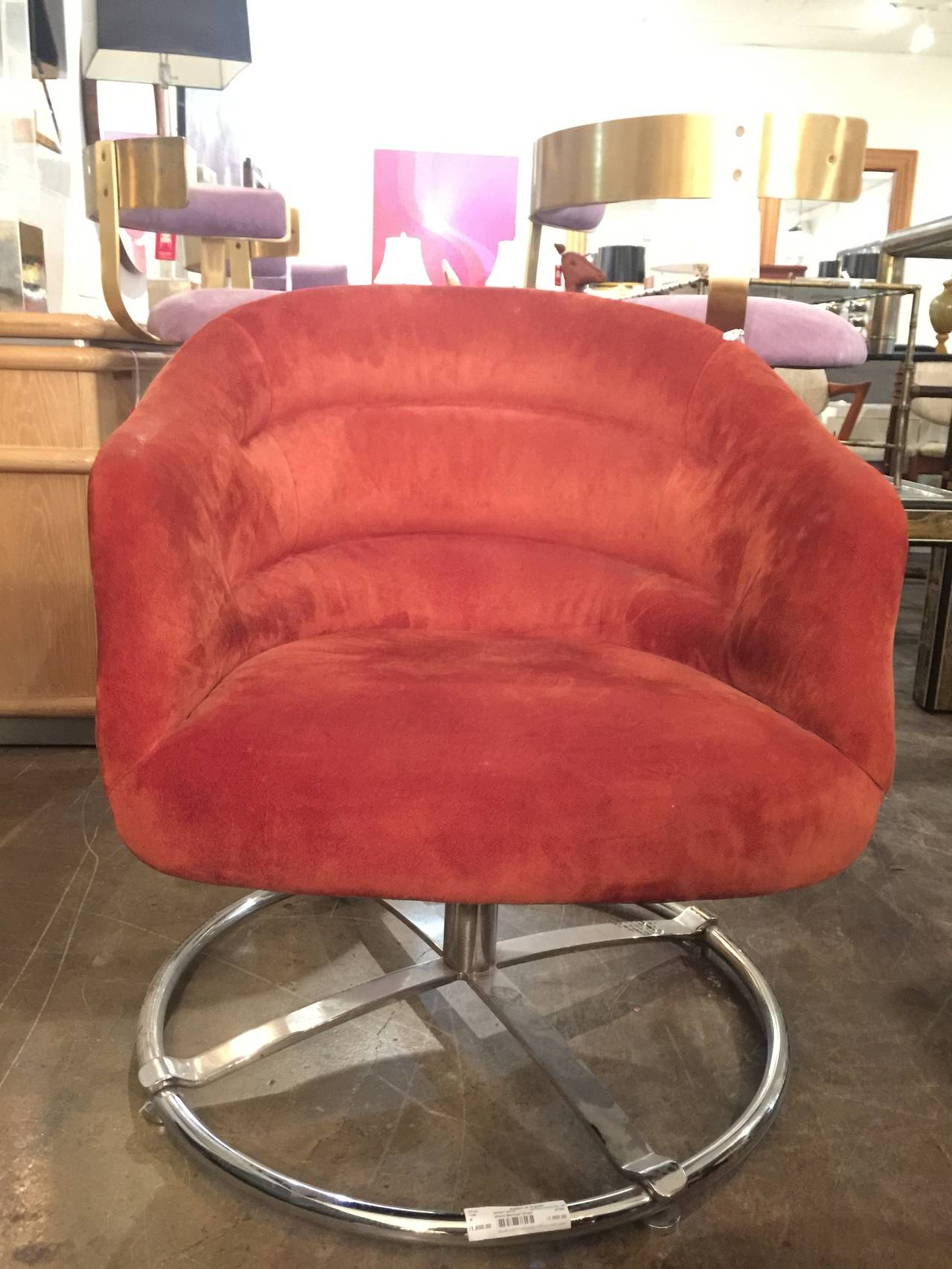 Single Suede Modern Swivel Chair with Chrome Base by Ward Bennett