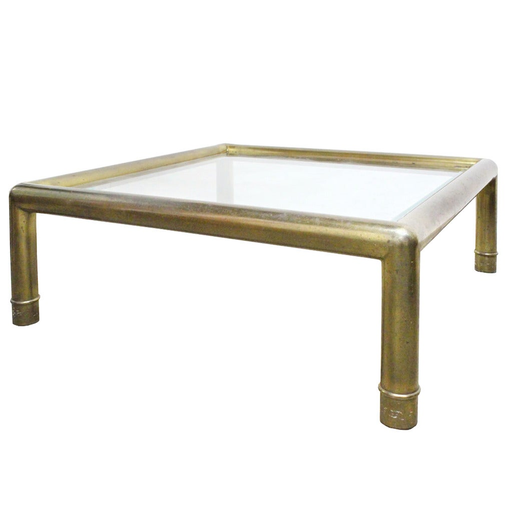 1970s Monumental Brass Coffee Table by Mastercraft