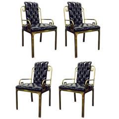 Set of Four Brass Mastercraft Greek Key Dining Chairs