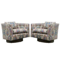 Pair of Paisley Swivel Chairs in the Style of Milo Baughman