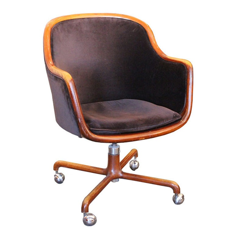 Amazing 1970s Velvet Desk Chair By Ward Bennett For Sale