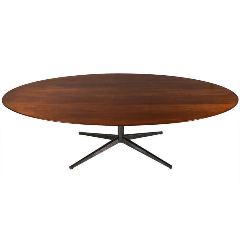 Florence Round Extended Table 92 117cm: Walnut Eight Foot Oval Dining Table By Florence Knoll At