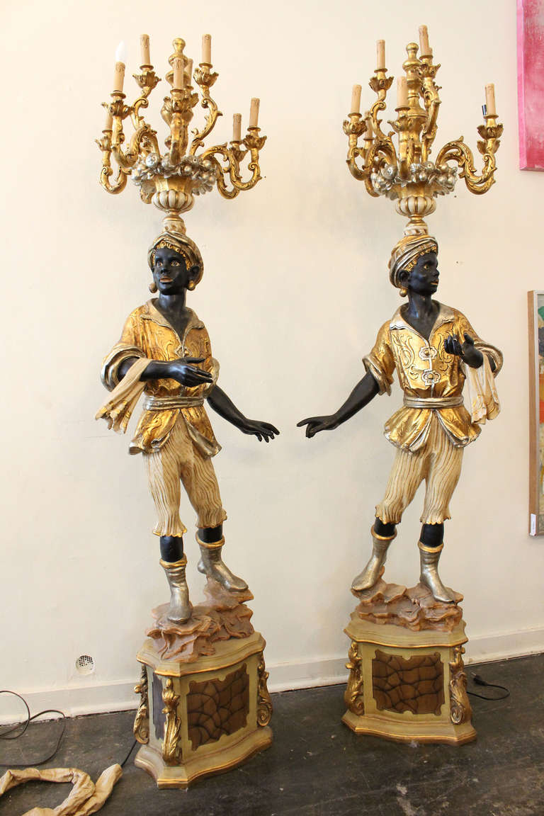 Tall Pair Of Blackamoor Torcheres At 1stdibs