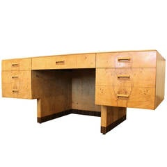 Burl Wood Executive Desk by Henredon