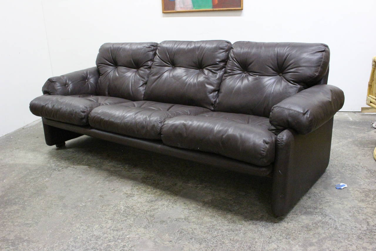 Brown Leather Sofa By Tobia Scarpa For B And B Italia At