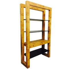 Patchwork Burl Wood and Smoke Glass Tall Shelf by Paul Evans