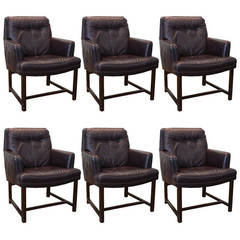 Set of Six Armchairs in Ox Blood Leather by Ed Wormley for Dunbar