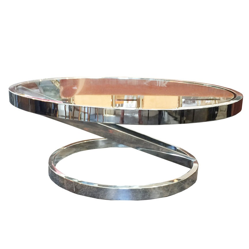 Round Modern Chrome Coffee Table In The Style Of Milo Baughman At 1stdibs