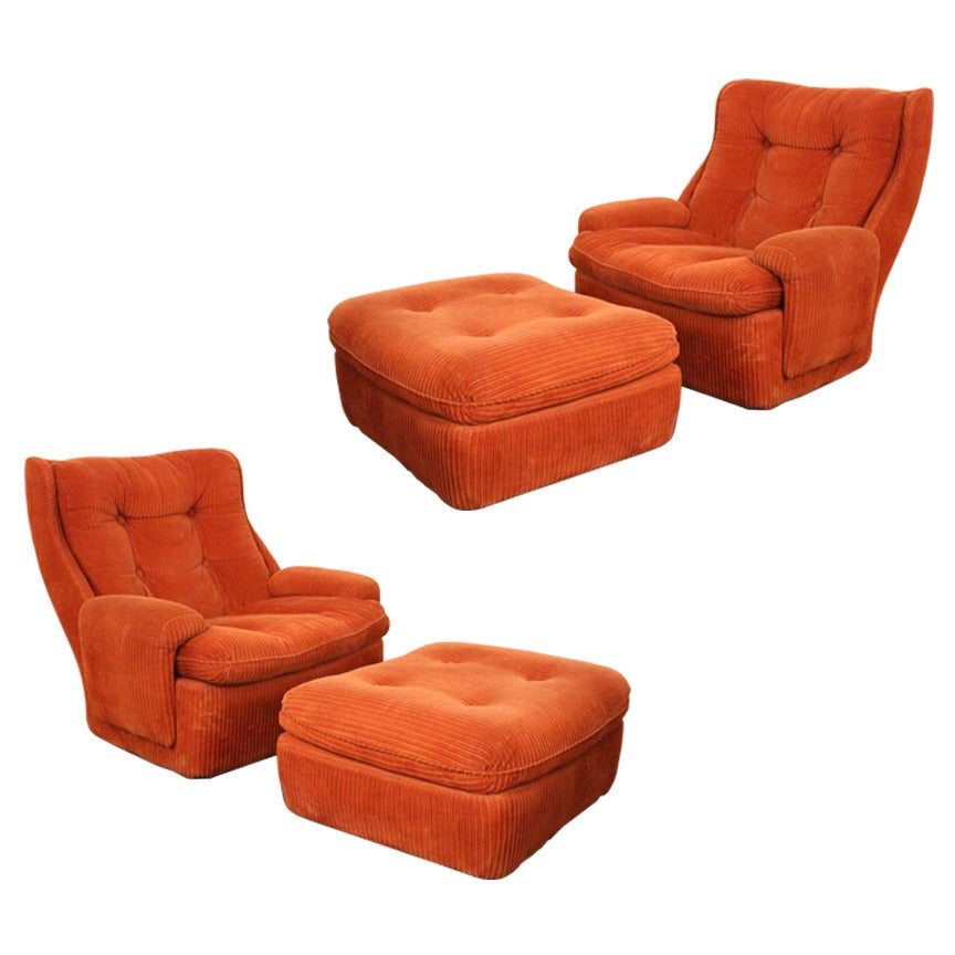 Pair Of 1970s Lounge Chairs And Ottomans For Sale At 1stdibs