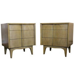 Pair American of Martinsville Bleached Mahogany Nightstands