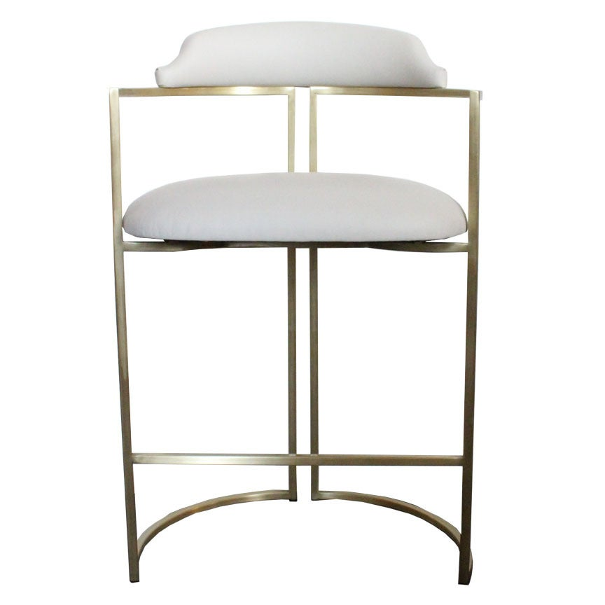 Brass Bar Stools Upholstered in White Leather For Sale at  : cstombstools4 1 from www.1stdibs.com size 864 x 864 jpeg 34kB