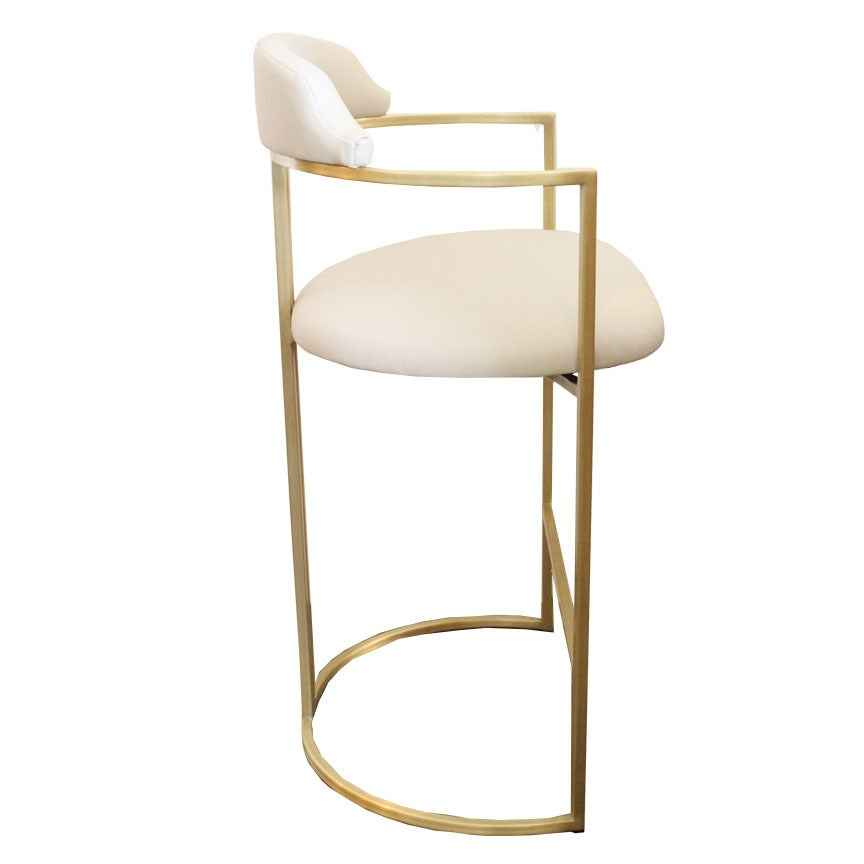 Brass Bar Stools Upholstered in White Leather For Sale at  : cstombstools7 1 from www.1stdibs.com size 864 x 864 jpeg 26kB