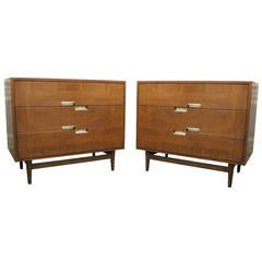 Pair Walnut Bachelors Chest by American of Martinsville
