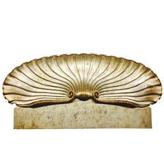 King-Size Gilded Hollywood Regency Clam Shell Headboard