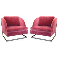 Pair of Pink 1970s Disco Chairs in the Style of Milo Baughman