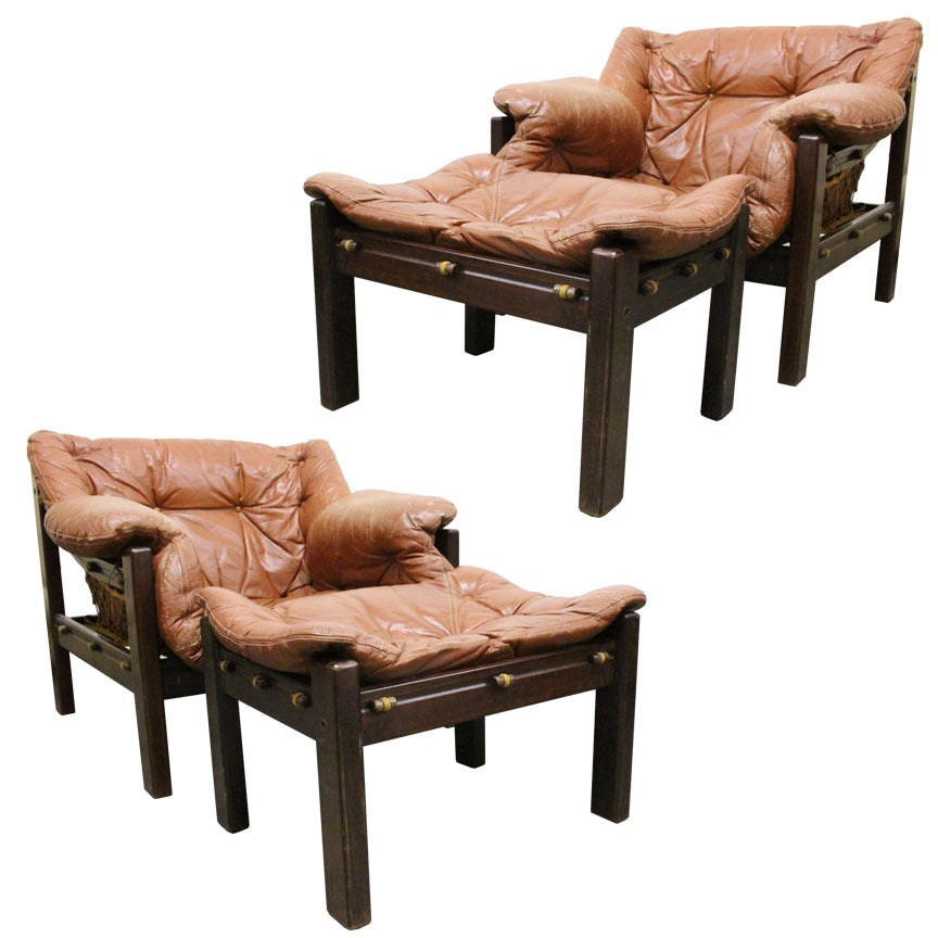 Pair Of Jean Gillon Sling Lounge Chairs And Ottomans For