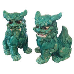 Overscale Pair Turquoise Glazed Foo Dogs