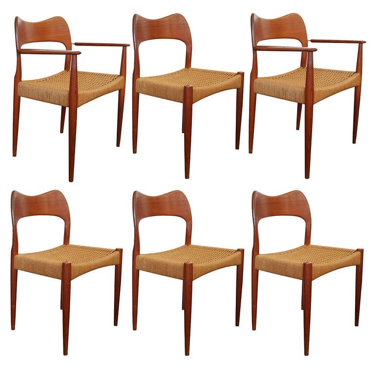 Six danish teak dining chairs by hovmand olsen at 1stdibs - Scandinavian teak dining room furniture design ...