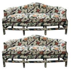 Custom Camel Back Sofa with Down Cushion