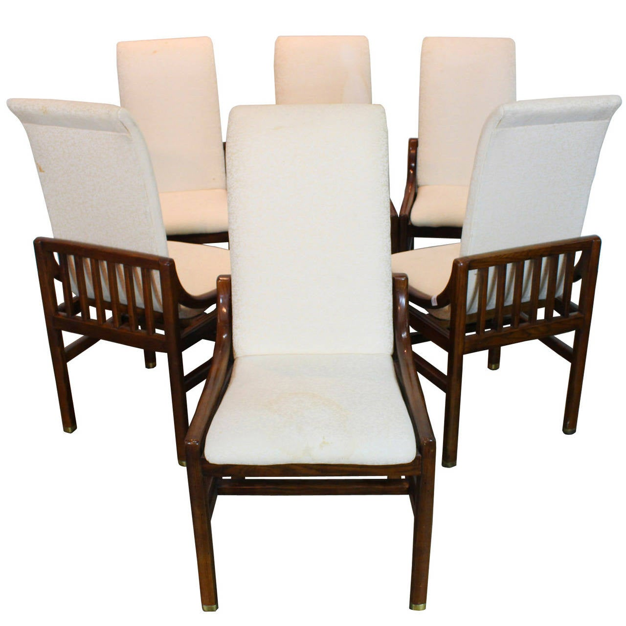 this set of six henredon dining chairs in walnut is no longer
