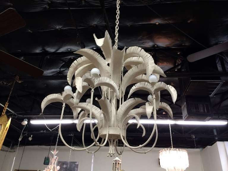 Six-arm palm leaf chandelier with original white painted finish. Original wiring in working condition.