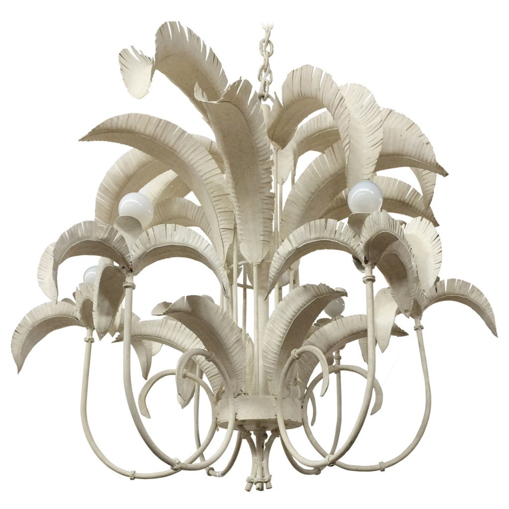 Faux bamboo palm tree chandelier at 1stdibs faux bamboo palm tree chandelier 1 arubaitofo Gallery