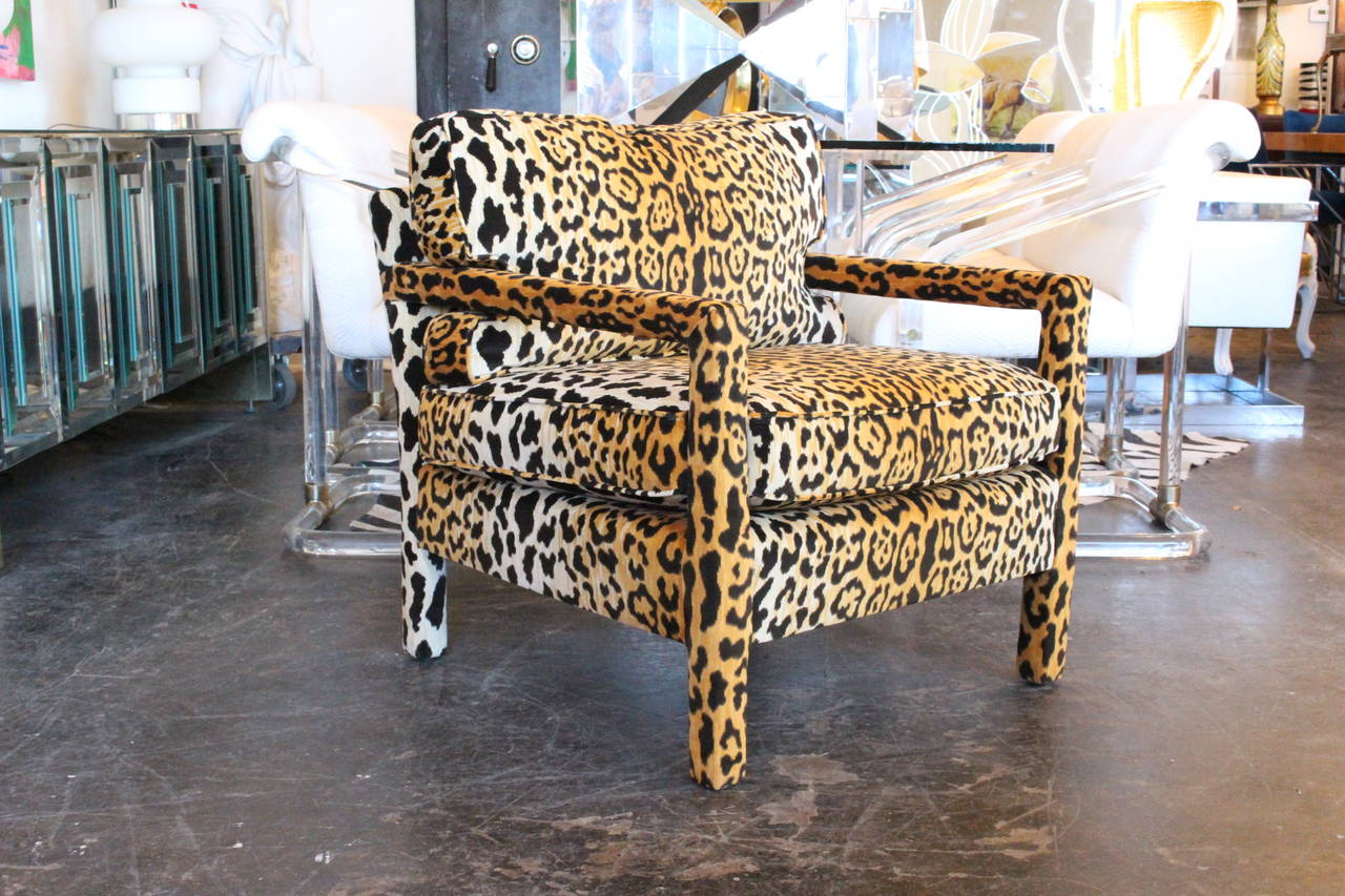 Pair Of Leopard Parson Chairs In The Style Of Milo Baughman, Custom 2