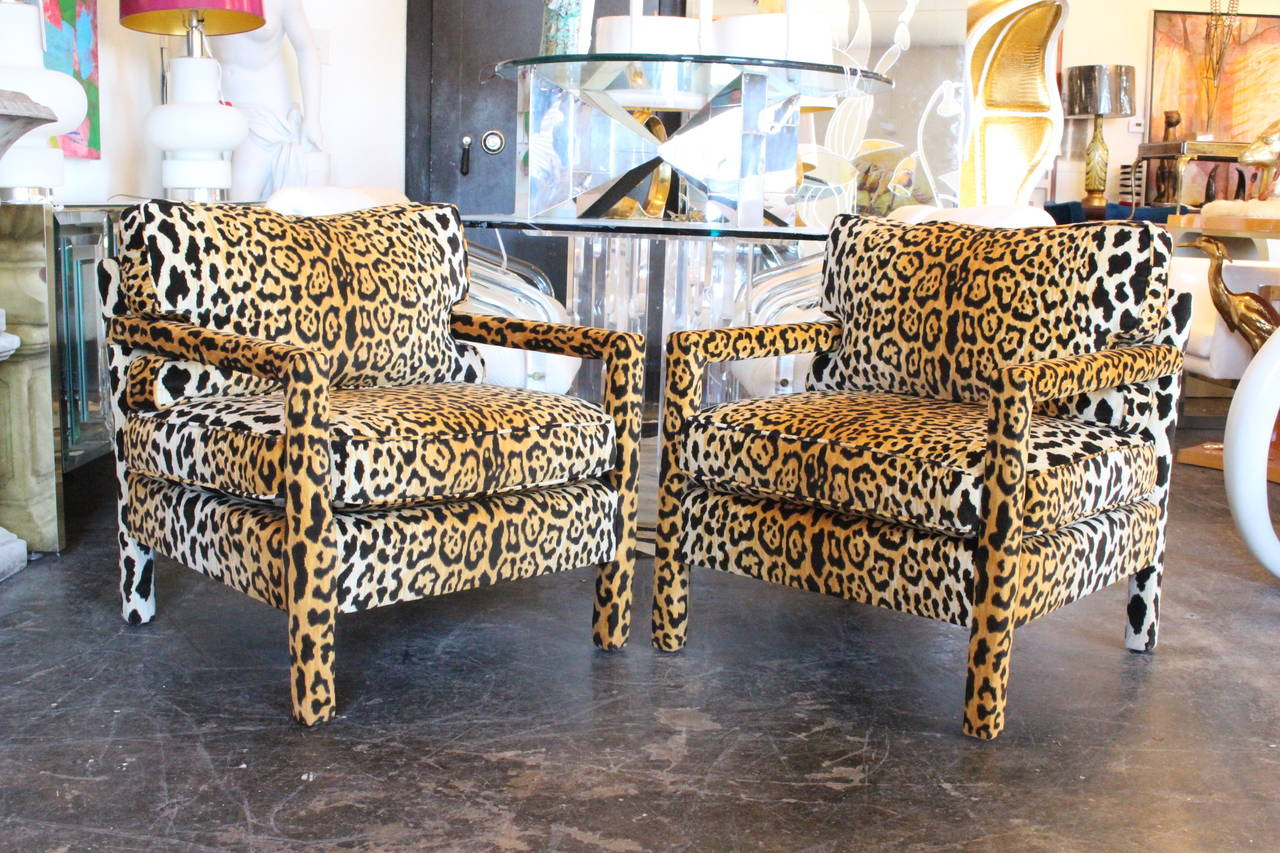 Pair of leopard parson chairs in the style of milo for What is a parsons chair style