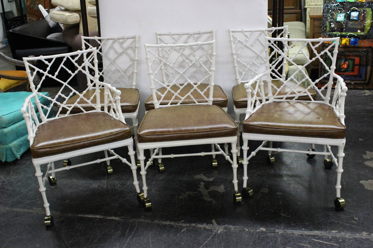 Set Of Six Aluminum Faux Bamboo Chairs In Style Of Phyllis