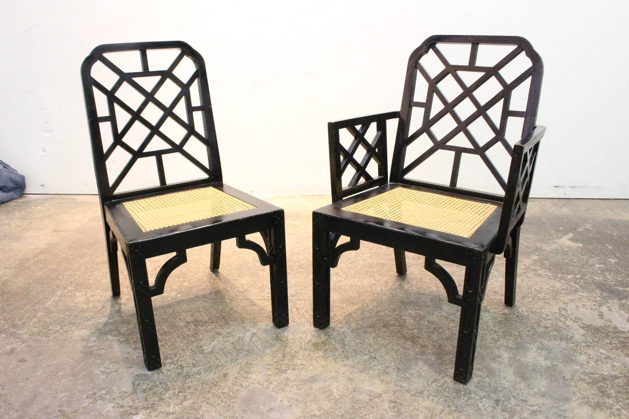 Set Of Eight Black Lacquer Chinoiserie Dining Chair At 1stdibs