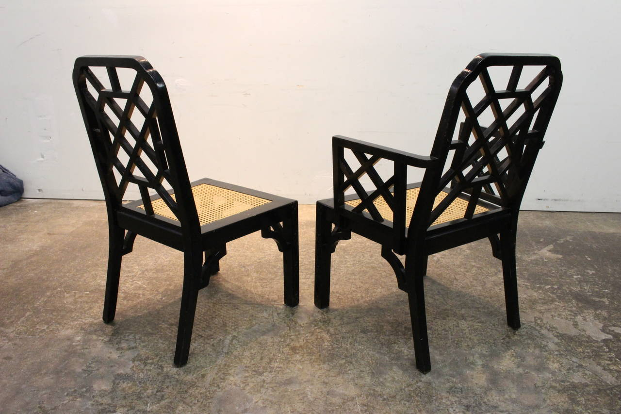 set of eight black lacquer chinoiserie dining chair at 1stdi