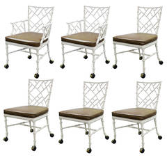 Set of Six Aluminum Faux Bamboo Chairs in Style of Phyllis Morris