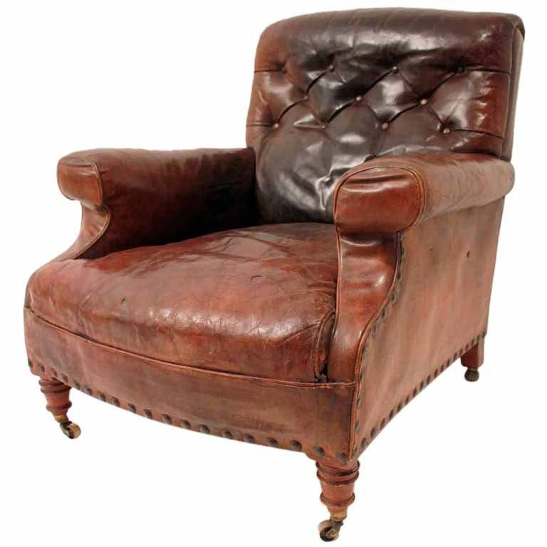 Late 19th Century Leather Gentleman S Club Chair At 1stdibs