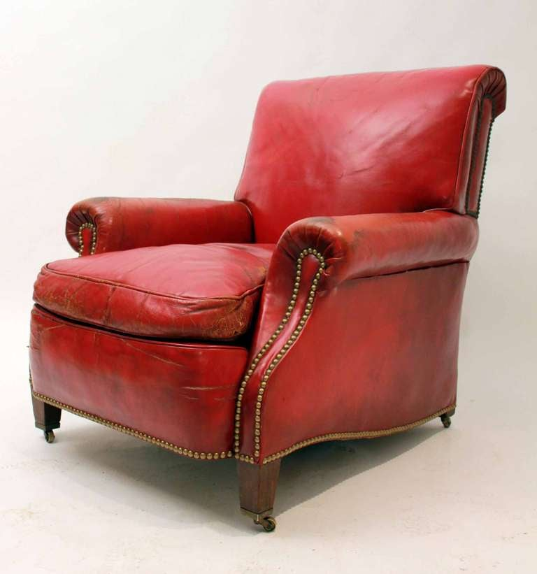 World Market Red Leather Chair: Red Leather Club Chair At 1stdibs