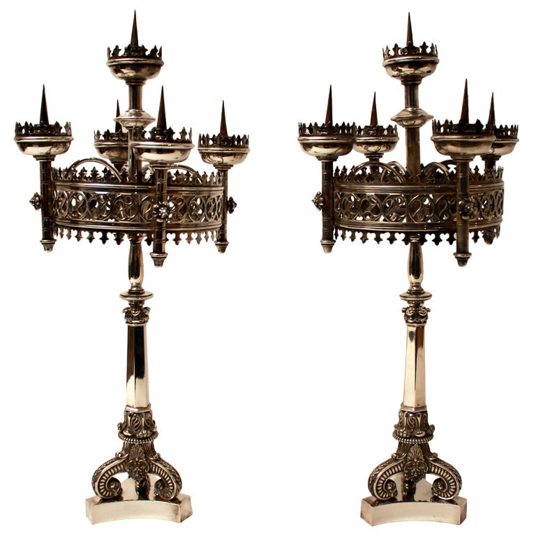 A Pair Of 19th Century Gothic Revival Candelabra at 1stdibs