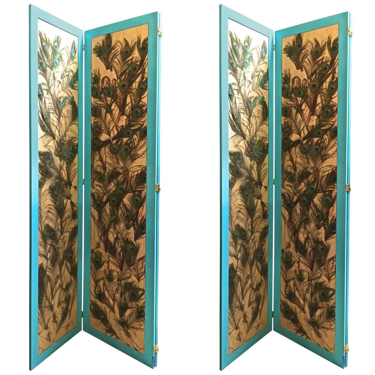 Pair Of Peacock Feather Three Panel Folding Floor Screens
