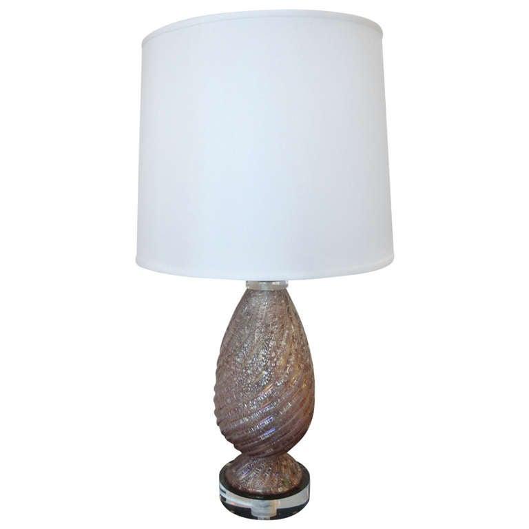 Lavender Murano Glass Lamp