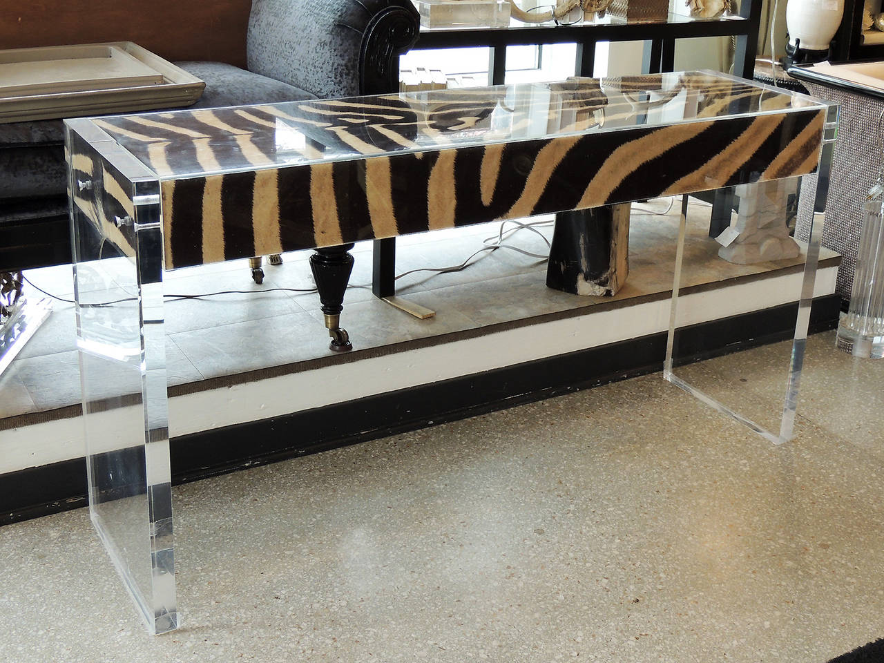 Modern Lucite Console Table With Zebra Hide For Sale